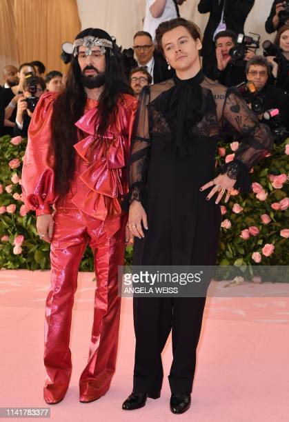 Singer/songwriter Harry Styles and Gucci creative director Alessandro Michele arrive for the 2019 Met Gala at the Metropolitan Museum of Art on May 6...