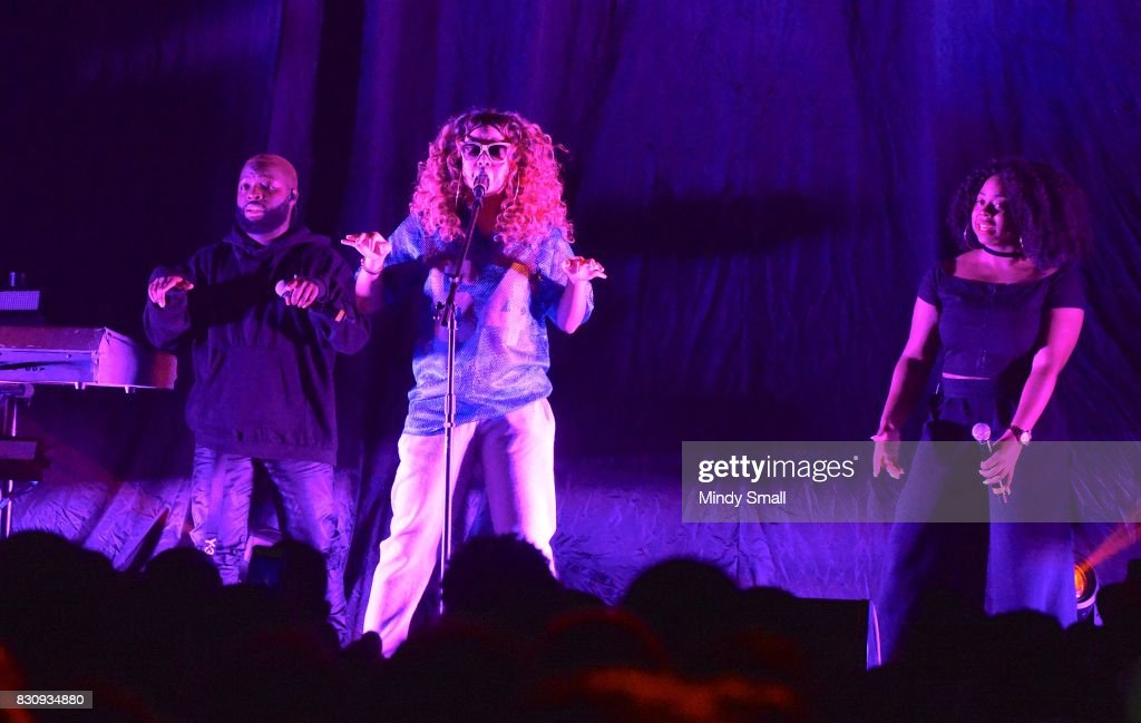 Singer/songwriter H.E.R. (C) performs at The Joint inside the Hard Rock Hotel & Casino on August 12, 2017 in Las Vegas, Nevada.
