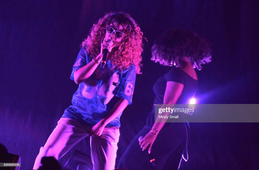 Singer/songwriter H.E.R. (L) performs at The Joint inside the Hard Rock Hotel & Casino on August 12, 2017 in Las Vegas, Nevada.