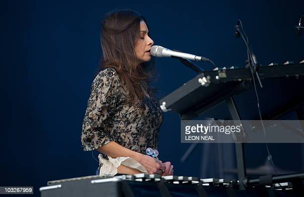 US singersongwriter Hope Sandoval of Hope Sandoval and the Warm Inventions performs on the main stage at the Big Chill festival near Ledbury in...