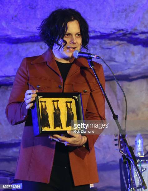 Singer/Songwriter Host Jack White displays a gift of Cave Bats during Tennessee Tourism Third Man Records 333 Feet Underground at Cumberland Caverns...