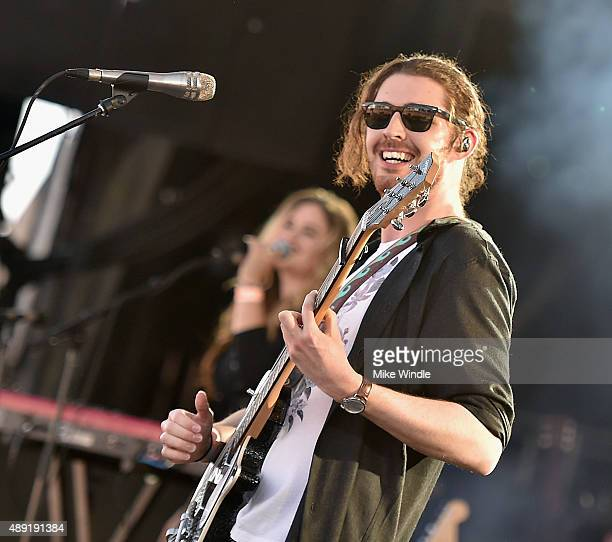 Singer/songwriter Hozier performs onstage at The Daytime Village during the 2015 iHeartRadio Music Festival at the Las Vegas Village on September 19...