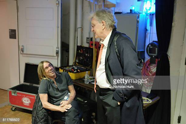Singersongwriter Iggy Pop and Tibet House US President Dr Robert AF Thurman speak backstage at the 26th Annual Tibet House US benefit concert at...