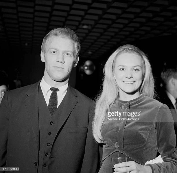 Singer/songwriter Jackie DeShannon poses for a portrait at an event with her husband record sales executive Bud Dain in circa 1967 in Los Angeles...