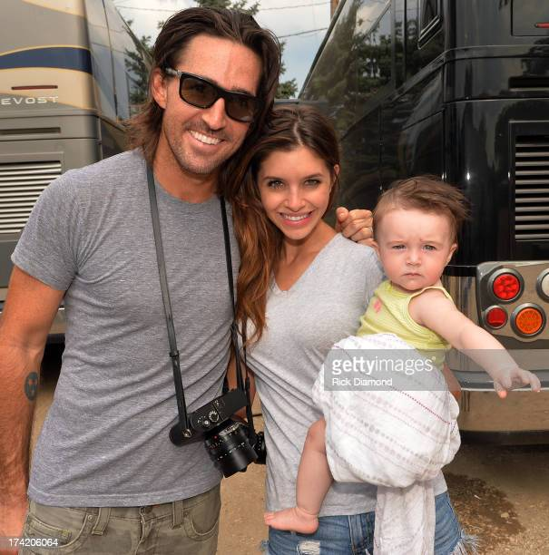 Singer/Songwriter Jake Owen Wife/Model Lacey Buchanan and daughter pearl backstage at Country Thunder Twin Lakes Wisconsin Day 4 on July 21 2013 in...