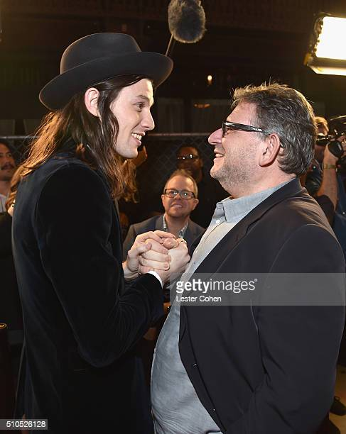 Singersongwriter James Bay and CBE Chairman CEO UMG Lucian Grainge attend Universal Music Group 2016 Grammy After Party presented by American...
