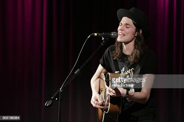 Singer/songwriter James Bay performs at Spotlight James Bay at The GRAMMY Museum on January 15 2016 in Los Angeles California