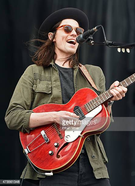 Singer/songwriter James Bay performs during Rock in Rio USA at the MGM Resorts Festival Grounds on May 15 2015 in Las Vegas Nevada