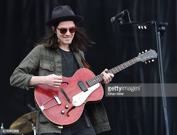 Singer/songwriter James Bay performs during Rock in Rio USA at the MGM Resorts Festival Grounds on May 15, 2015 in Las Vegas, Nevada.