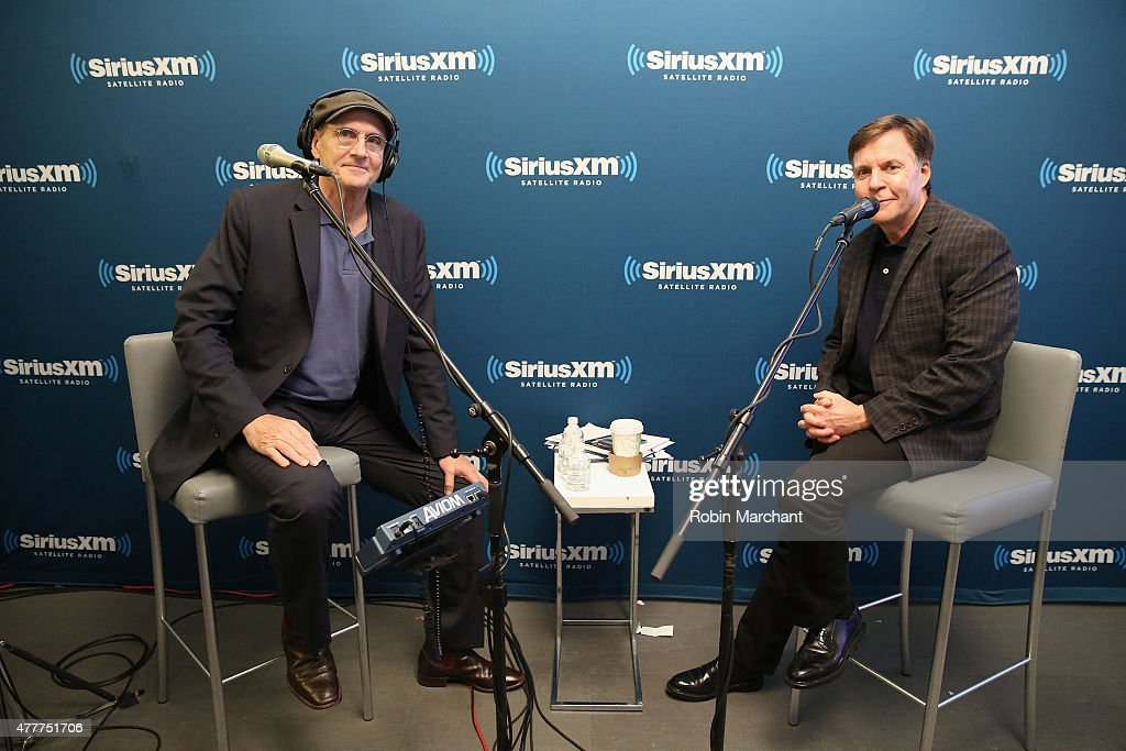 Singer-songwriter James Taylor and portscaster Bob Costas attend SiriusXM's 'Town Hall' with James Taylor hosted by Bob Costas at SiriusXM Studio on June 19, 2015 in New York City.