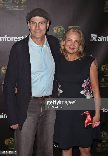 Singer/songwriter James Taylor and wife Kim Taylor attend the 25th Anniversary Rainforest Fund Benefit at Mandarin Oriental Hotel on April 17 2014 in...