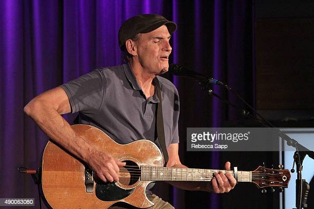 Singer/songwriter James Taylor performs at An Evening With James Taylor at the GRAMMY Museum on September 25 2015 in Los Angeles California