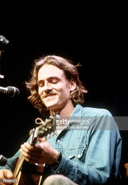 Singer/songwriter James Taylor performs onstage at the Mariposa Folk Festival in 1970 in Orillia Ontario Canada