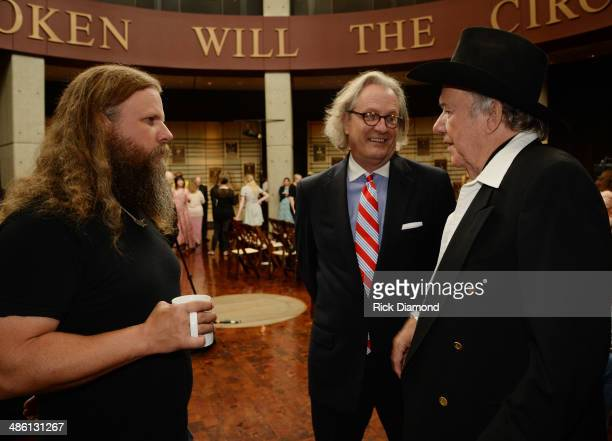 Singer/Songwriter Jamey Johnson Kyle Young Director and CEO CMHOF and Hall of Fame member Bobby Bare chat during the 2014 Country Music Hall Of Fame...