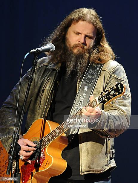 Singer/Songwriter Jamey Johnson performs at the Universal Music Group Nashville luncheon as part of the 2010 Country Radio Seminar at the Historic...
