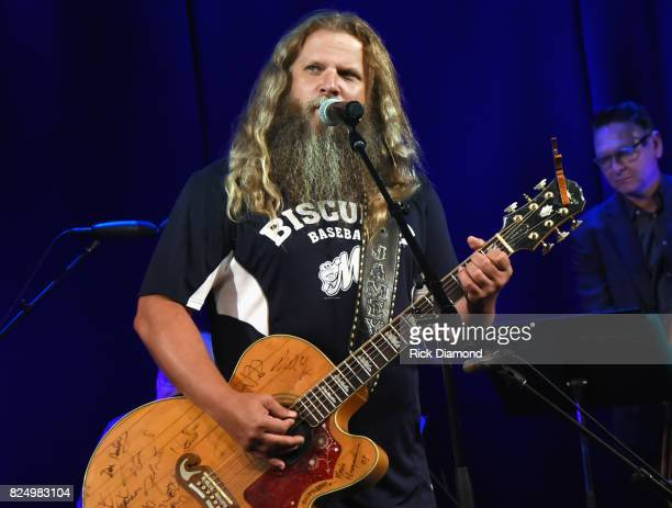 Singer/Songwriter Jamey Johnson performs during Bob McDill Donation Ceremony at Country Music Hall of Fame and Museum on July 31 2017 in Nashville...