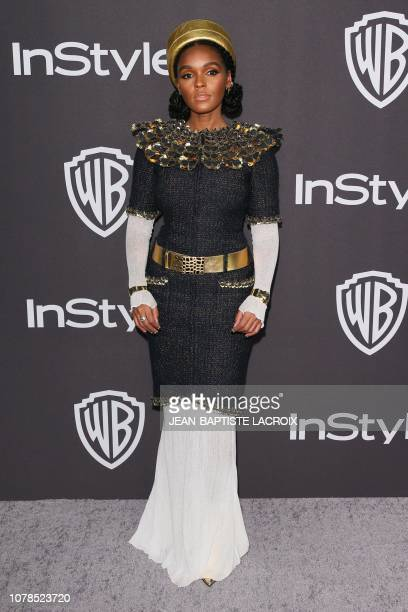 US singersongwriter Janelle Monae arrives for the Warner Bros and In Style 20th annual post Golden Globes party at the Oasis Courtyard of the Beverly...