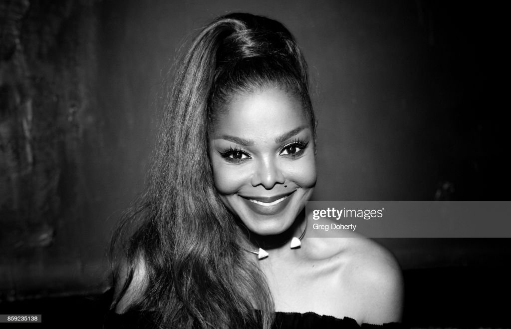 Image has been converted to black and white.) Singer-songwriter Janet Jackson attends her Janet Jackson's State Of The World Tour After Party at Lure on October 8, 2017 in Los Angeles, California.