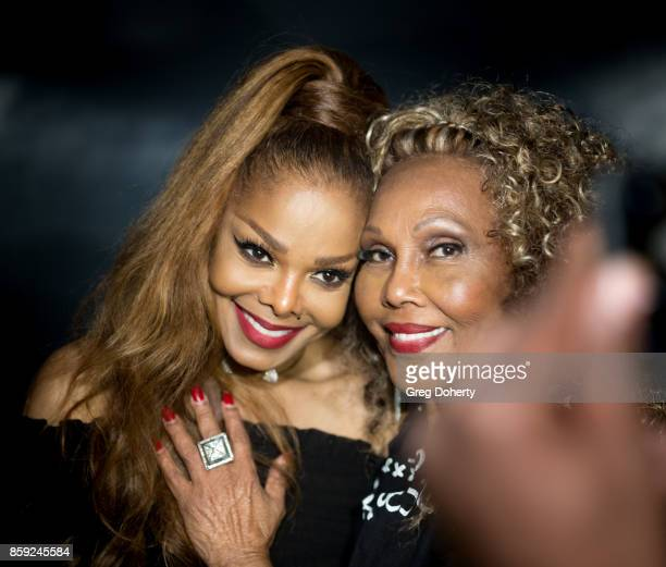 Singersongwriter Janet Jackson meets Singersongwriter and Actress Ja'net Dubois at the Janet Jackson's State Of The World Tour After Party at Lure on...