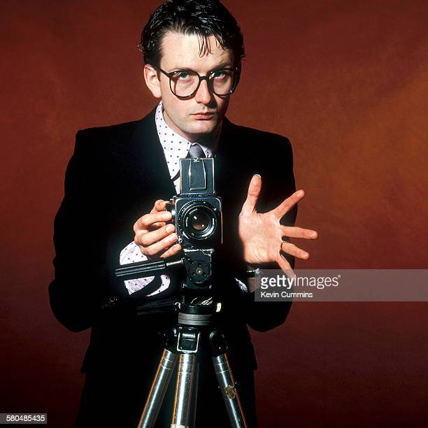 Singersongwriter Jarvis Cocker of British pop group Pulp posing as a photographer circa 2000 in imitation of Chris Gabrin's cover shot for the 1978...