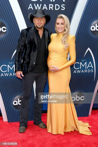 Singersongwriter Jason Aldean and Brittany Kerr attend the 52nd annual CMA Awards at the Bridgestone Arena on November 14 2018 in Nashville Tennessee