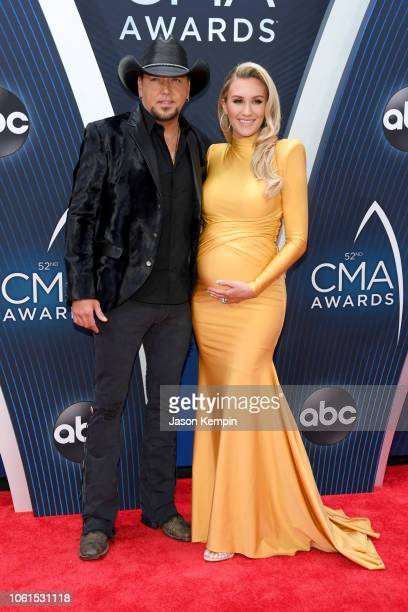 Singer-songwriter Jason Aldean and Brittany Kerr attend the 52nd annual CMA Awards at the Bridgestone Arena on November 14, 2018 in Nashville,...