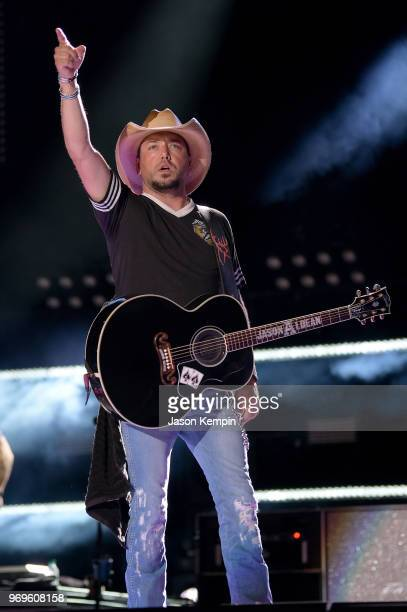 Singersongwriter Jason Aldean performs onstage during the 2018 CMA Music festival at the Nissan Stadium on June 7 2018 in Nashville Tennessee
