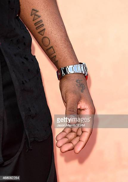 Singer/songwriter Jason Derulo tattoo detail attends the 2015 iHeartRadio Music Awards which broadcasted live on NBC from The Shrine Auditorium on...