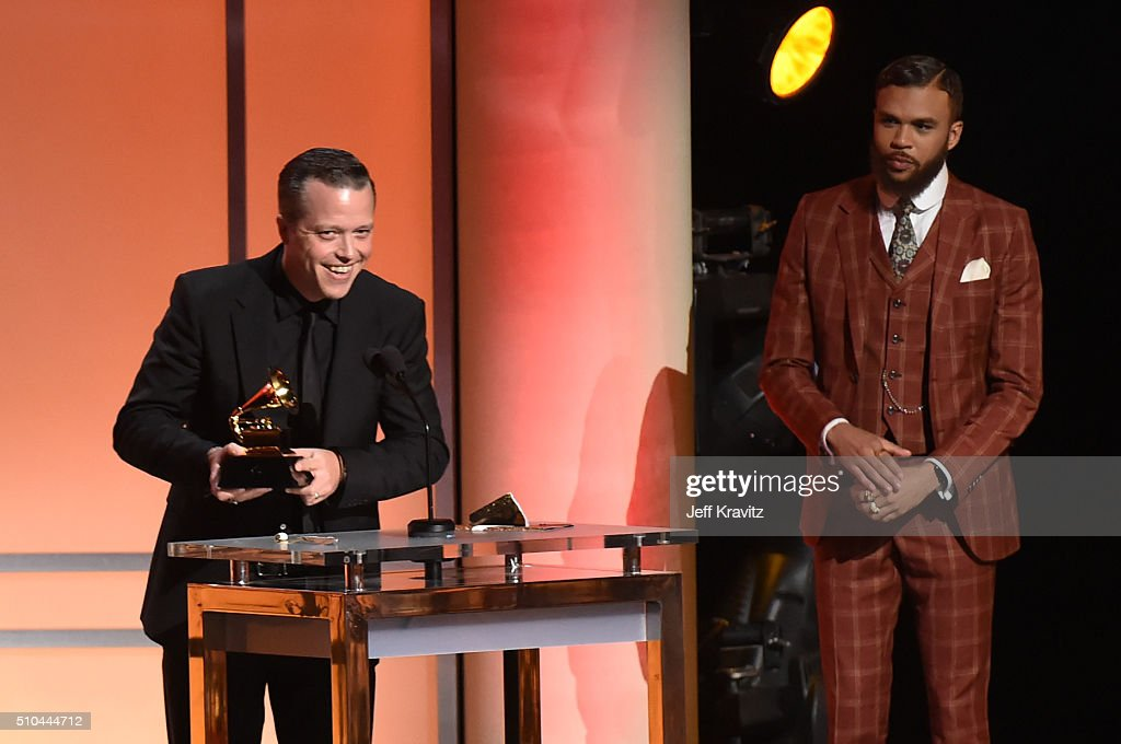 Singer/songwriter Jason Isbell (L) accepts the award for Best American Album for 'Something More Than Free' alongside singer/producer Jidenna onstage during The 58th GRAMMY Premiere Ceremony at Los Angeles Convention Center on February 15, 2016 in Los Angeles, California.