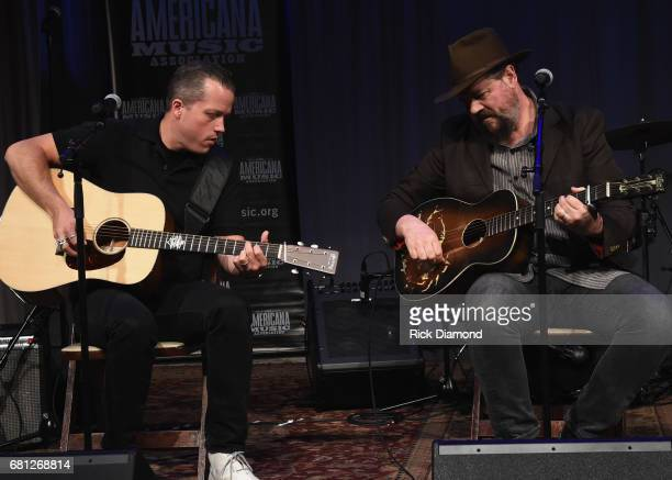 Singer/Songwriter Jason Isbell joins Patterson Hood of DriveBy Truckers on stage during The Americana Music Honors Awards Nominations Ceremony in The...