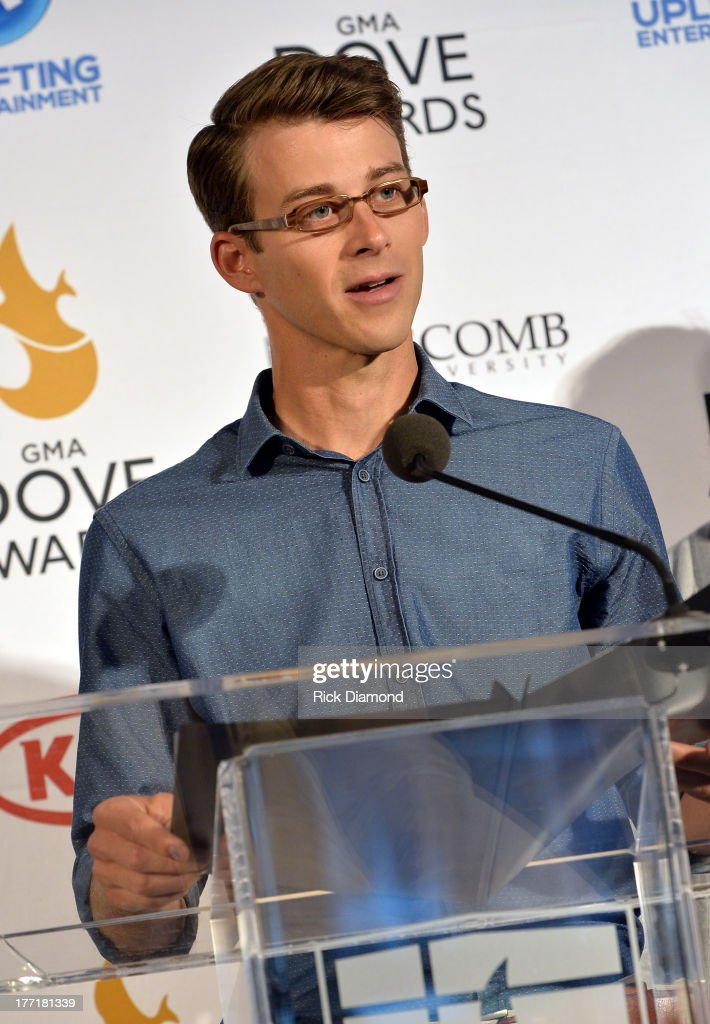 Singer/Songwriter Jason Jamison of Tenth Avenue North announces nominations for The 44th Annual GMA Dove Awards Nominations Press Conference at Allen Arena, Lipscomb University on August 21, 2013 in Nashville, Tennessee.