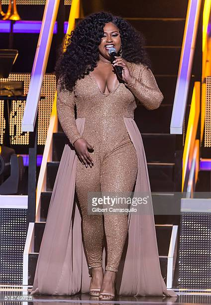 Singersongwriter Jazmine Sullivan performs onstage during BET Black Girls Rock 2016 at New Jersey Performing Arts Center on April 1 2016 in Newark...