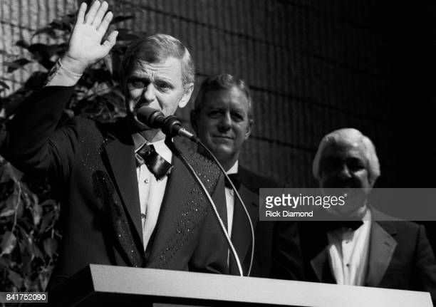 Singer/Songwriter Jerry Reed and Georgia Governor Joe Frank Harris attend The Georgia Music Hall of Fame at The Georgia World Congress Center in...