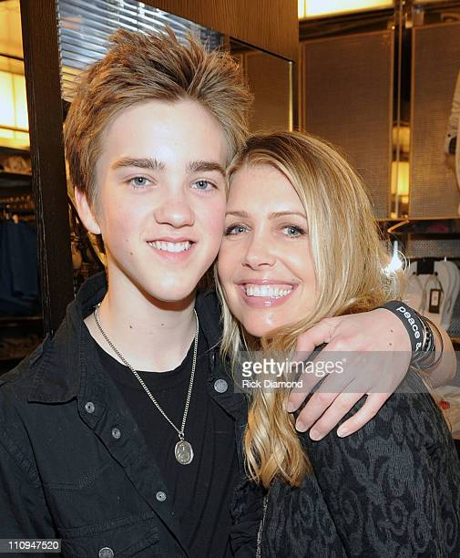 COVERAGE*** Singer/Songwriter Jessarae McQueen and Mom Stacia Robitaille shop at the new Armani Exchange Atlanta store opening at Lenox Square on...