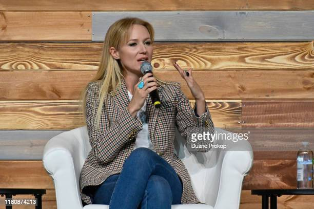 Singer-songwriter Jewel speaks during Mindfulness in America on the Inspire Stage presented by Johnson & Johnson during the third day of Wellness...