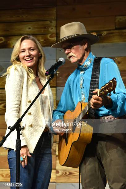 Singer-songwriter Jewel with her dad Atz Kilcher on stage during the first day of the Wellness Your Way Festival at the Colorado Convention Center on...