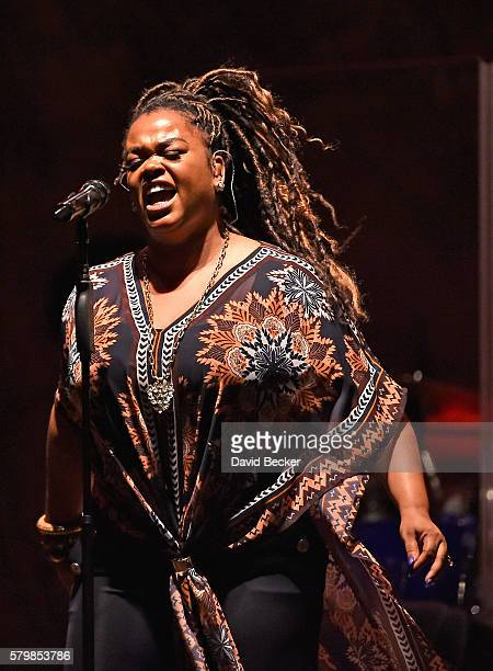 Singer/songwriter Jill Scott performs during the Neighborhood Awards Beach Party at the Mandalay Bay Beach at the Mandalay Bay Resort and Casino on...