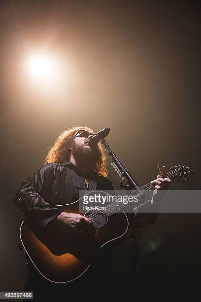 Singersongwriter Jim James of My Morning Jacket performs in concert at Austin Music Hall on October 22 2015 in Austin Texas