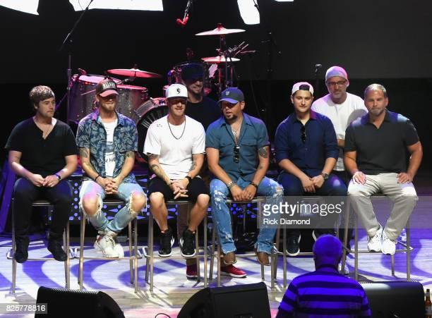 Singer/Songwriter Jimmy Robbins Brian Kelley Tyler Hubbard Jason Aldean Jordan Schmidt Brad Warren and Producer Michael Knox attend Jason Aldean's...