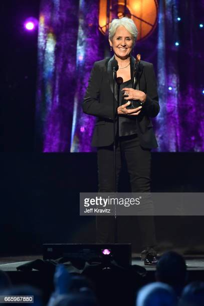 Singersongwriter Joan Baez appears onstage at the 32nd Annual Rock Roll Hall Of Fame Induction Ceremony at Barclays Center on April 7 2017 in New...