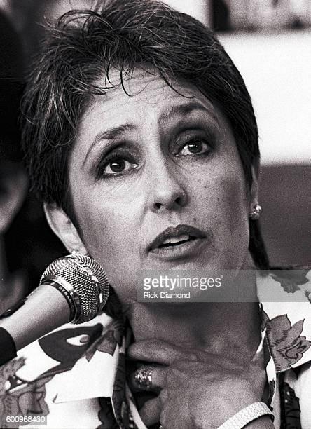 Singer/Songwriter Joan Baez attends a press conference discussing The Conspiracy of Hope tour celebrating Amnesty International's 25th anniversary at...