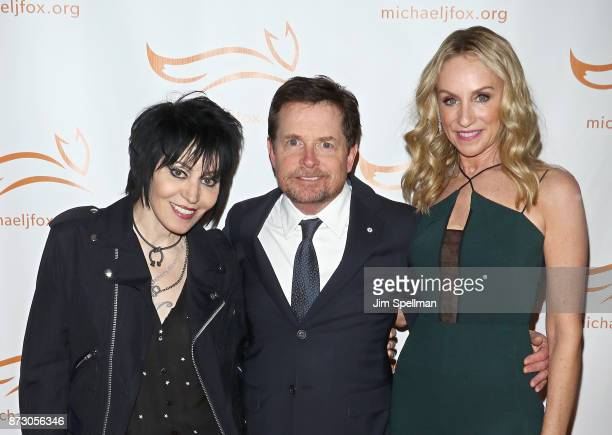 Singer/songwriter Joan Jett actors Michael J Fox and Tracy Pollan attend the 2017 A Funny Thing Happened on the Way to Cure Parkinson's event at the...