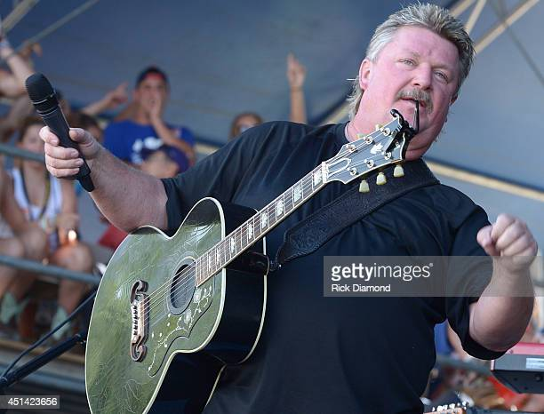 "Singer/Songwriter Joe Diffie performs during ""Kicker Country Stampede"" at Tuttle Creek State Park on June 28, 2014 in Manhattan, Kansas."