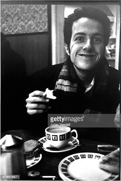Singer-songwriter Joe Strummer of English pub rock group The 101ers, in a cafe on Chippenham Road, near the band's squat at 101 Walterton Road,...