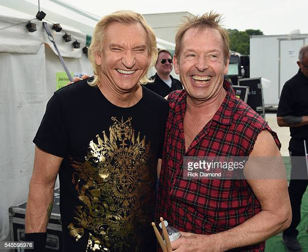 Singer/Songwriter Joe Walsh and Bad Company's Simon Kirke backstage at Carl Black Chevy Woods Amphitheater At Fontanel on July 3 2016 in Nashville...