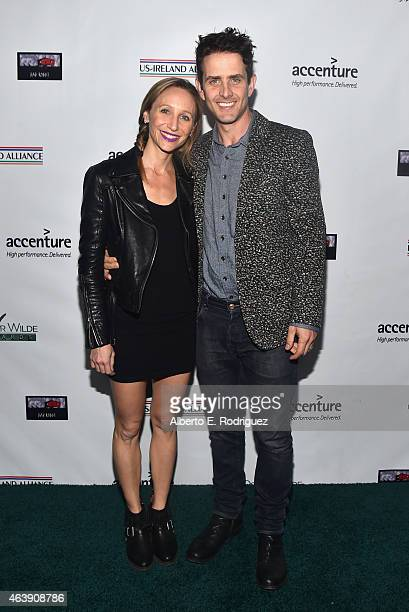 Singersongwriter Joey McIntyre and Barrett Williams attend the USIreland Aliiance's Oscar Wilde Awards event at JJ Abrams' Bad Robot on February 19...