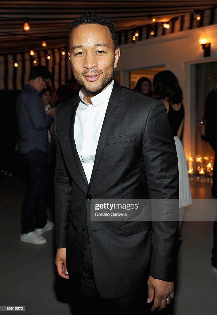 Singer/songwriter John Legend attends a cocktail event hosted by Dior Homme's Kris Van Assche at Chateau Marmont on September 24, 2015 in Los Angeles, California.