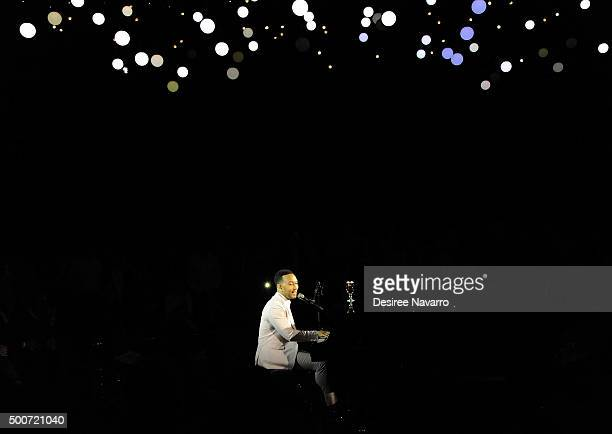 Singersongwriter John Legend performs during the Stella Artois And John Legend Under The Stars Exhibit Launch at Skylight at Moynihan Station on...