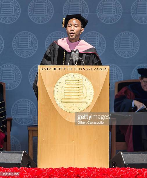 Singersongwriter John Legend receives an honorary Doctor of Music during University of Pennsylvania's 258th Commencement ceremony at Franklin Field...