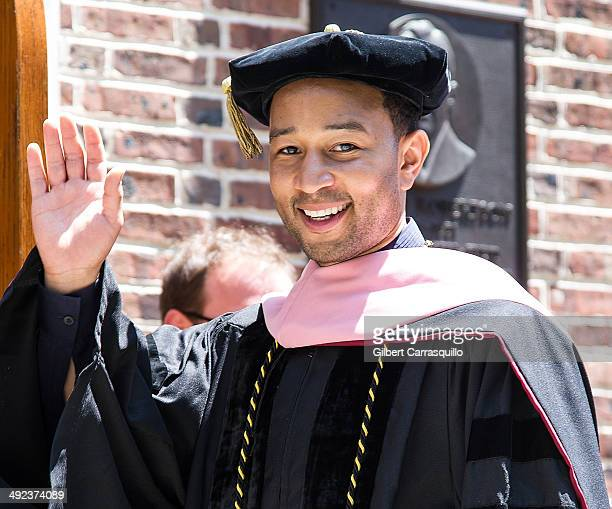 Singersongwriter John Legend receives an honorary doctorate of music during University of Pennsylvania's 258th Commencement ceremony at Franklin...